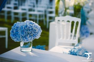 blue hydrangea wedding in Rome